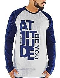 Attitude Grey And Navy Blue Men's Cotton Round Neck Full Sleeve T-shirt
