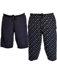 VIMAL JONNEY Cotton Blended Printed Shorts for Men (Pack of 2)-D11BLK_D12PRTBLK-P