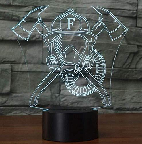 QiXian Nachtlicht Wandleuchte Led Lampe 3D Nachtlicht 7 Farben Ändern Touch-Taste Led Feuerwehrmann Maske Form Tischlampe 3D USB Nachtlichter Neuheit Geschenke für Küche Schlafzimmer Wohnzimmer