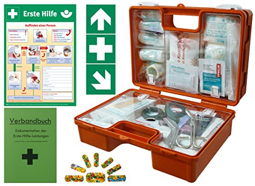 Neue Erste-hilfe - (Erste-Hilfe-Koffer KITA PLUS -Komplettpaket- DIN/EN 13157 für Betriebe + DIN/EN 13164 für KFZ - incl. 1.Hilfe-Aufkleber & 1. Hilfe AUSHANG)