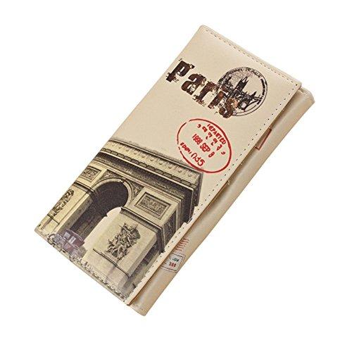 Minetom Donne Moda Torre Città Lungo PuinPelleTitolareDellaCartaPochettePortafoglioBorsa Zip Borsa di Denaro Multifunzionale Paris 1