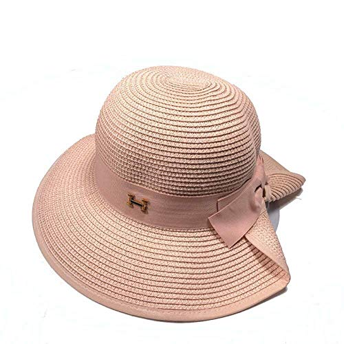 Wghz Lady Strohhut Sommer Bogen Big Hat Outdoor Sonnenhut Visor Beach Hat (Farbe: Pink, Größe: 58cm) -