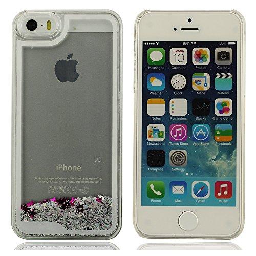 Dur Coque Case iPhone 5 5S 5G (aucun s'adapter pour iPhone 5C) Elevé Visuel Transparent PC Scintillement Poudre à L'intérieur Blanc