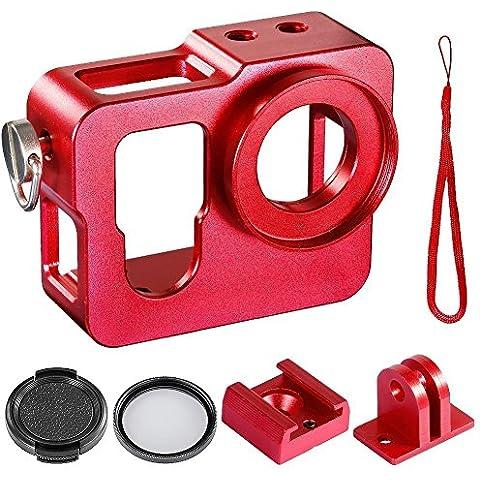Accesorios de la camara - TOOGOO(R)caja protectora gruesa de solido de metal + 37mm filtro UV + 37 mm tapa de objetivo de Snap-On para Gopro Hero 4 camara de foto (rojo)