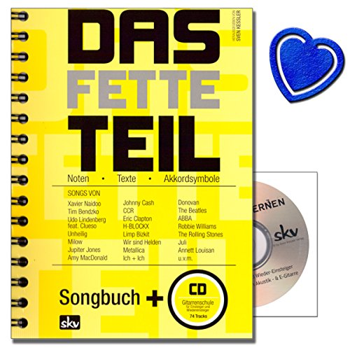 Preisvergleich Produktbild Das fette Teil - Songbuch mit großer Songauswahl (192 ! ) , Gitarreneinsteigerschule ohne Noten auf CD von Sven Kessler mit bunter herzförmiger Notenklammer
