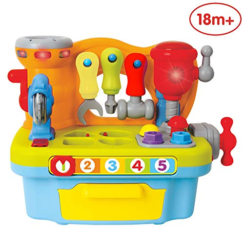 ANIKI TOYS Multifunctional Musical Learning Tool Workbench Pretend Toy Set with Shape Sorter Tools, Early Education Toy, Lovely Gift for 1 2 3 4 Years Old Baby Toddler Girls Boys Kids