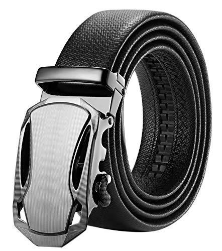 ITIEZY Herren Gürtel Ratsche Automatik Gürtel für Männer 35mm Breit Ledergürtel, Schwarz 1055, Länge: Bis zu 49,21 Inches (125cm) (Alte 10 Jahre G)