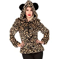 Jawbreaker - Faux Leopard Furry Leopard Panda Ear Hooded Jacket XL