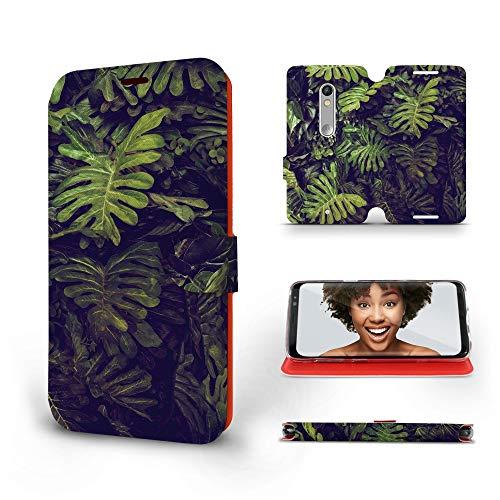 MOBIWEAR   Slim FLIP Case   Kompatibel mit Lenovo Moto X Play, Made in EU handyhülle, Premium Schutzhülle, Transparent TPU Silicon, Book Style Hülle, Tasche - Blätter