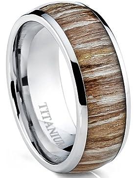 Herren Titan Ehering,Verlobungsring Mit Echtholzeinlage 8mm Bequemlichkeit Passen,Größe 54 to 70