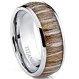 Ultimate Metals Co. Herren Titan Ehering,Verlobungsring Mit Echtholzeinlage 8mm Bequemlichkeit Passen,Größe 58