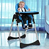 Vélu Soft Leather Foldable Fully Adjustable Baby Highchair Child Feeding High Chair Compact Soft Leather (Blue)