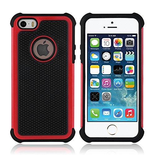 art&cherry©Outdoor Schutzhülle / Handyhülle für das Apple iPhone 5/5S +Touchstift : besonders stoßfest / wasserabweisend & extrem strapazierfähig in der Farbe BLAU rot