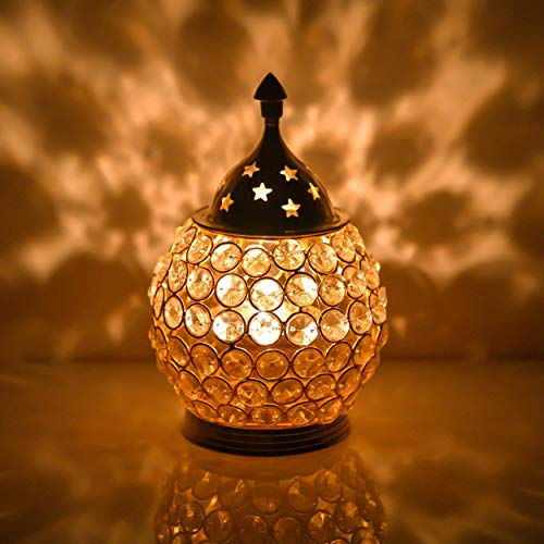 Collectible India Akhand Diya Decorative Brass Crystal Oil Lamp Tea Light Holder Lantern Oval Shape , (Medium)