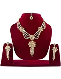 Necklace Set American Diamond Gold Plated Bollywood Designer Necklace Set For Women