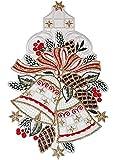 BEZAUBERNDes Fensterbild PLAUENER SPITZE® 17x29 cm + Saugnapf Weihnachten ADVENT Glocken Tannenzapfen rot gold Spitzenbild Advent