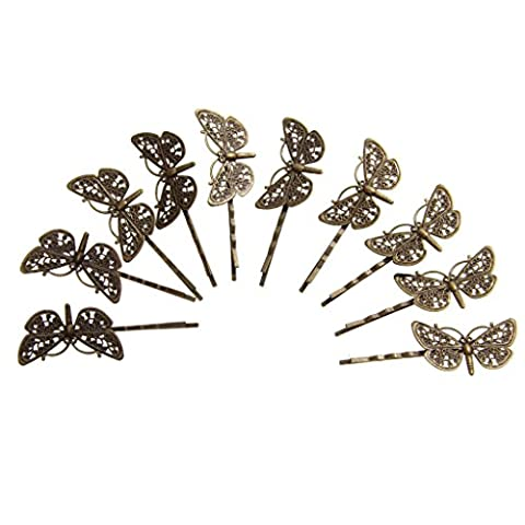 10 Vintage Hair Bobby Pins/Accessories Grips slides Dragonfly - Antique