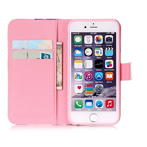 iPhone 5S Wallet Case Cover - Felfy Ultra Slim Cuir Coque Pour Apple iPhone 5/5S Flip Pink Fleur Don't touch my phone Motif PU Étui Portefeuille Housse Etui Holster + 1x Pink Touch Stylus + 1x Bling P Rose Fleur