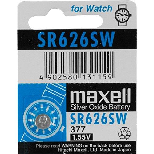 MAXELL 377 Batterie silberoxide 1,55V, 5x Einzelblister (Uhrenbatterie Sr626sw 377)