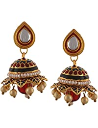 Zephyrr Traditional Jewellery Gold Tone Jhumki Earrings With Meenakari Pearls Kundan For Girls And Women