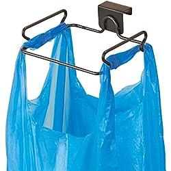 mDesign Porte Sac Poubelle – Support sac poubelle pratique pour les sacs poubelles – Support poubelle à suspendre en acier avec finition bronze