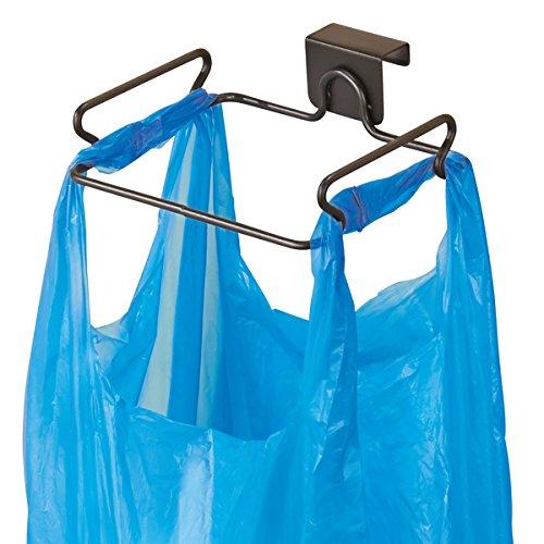 Mdesign porta sacchetti spazzatura – comodo porta sacchetti e porta buste – in acciaio con finitura in bronzo – montaggio semplice per poi appendere sacchetti immondizia