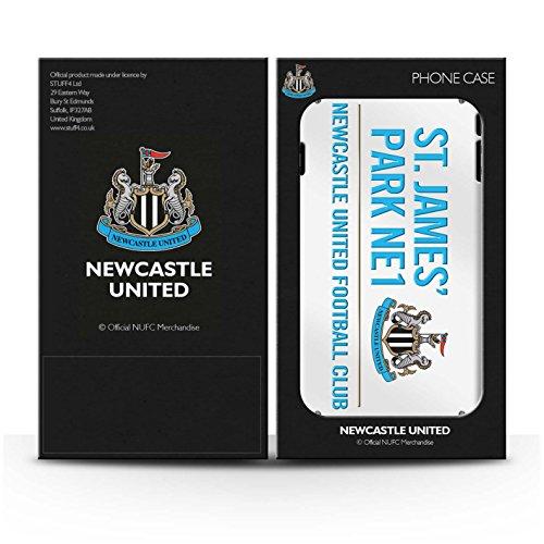 Offiziell Newcastle United FC Hülle / Glanz Snap-On Case für Apple iPhone 7 / Schwarz/Gold Muster / St James Park Zeichen Kollektion Weiß/Blau