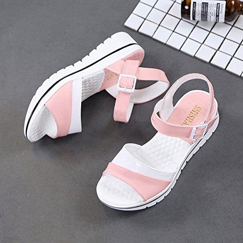 Lgk & fa estate sandali da donna estate morbido fondo all-match donne incinte con piatto sandali scarpe sandali semplice, studenti Pink
