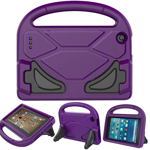 BEARS VS BABIES Fire 7 2015 Case with Screen Protector, Kinder Freundlich Light Weight Cabriolet Griff Stand Hülle für Amazon Fire 7 Tablet(5th Generation 2015 Release) Lila (Kids Fire Hd 7 Screen Protector)