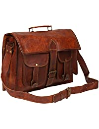 E-Tailor® Pure Brass Fittings Best Quality Handmade Vintage Brown Genuine Leather Mac Book Messenger Bag 16X12...