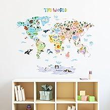 Decowall Mapamundi Animales Vinilo Pegatinas Decorativas Adhesiva Pared Dormitorio Salón Guardería Habitación Infantiles Niños Bebés (Grande, Extra Grande)