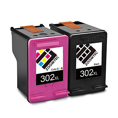 ZOOMTEC Remanufactured HP 302XL Tintenpatronen (1 Schwarz, 1 Tri-Color) Hohe Ausbeute Kompatibel mit HP Envy 4520 4521 4522 HP OfficeJet 3830 3831 3832 3833 3834 HP DeskJet 1110 1115 2130 2132 2133 2134