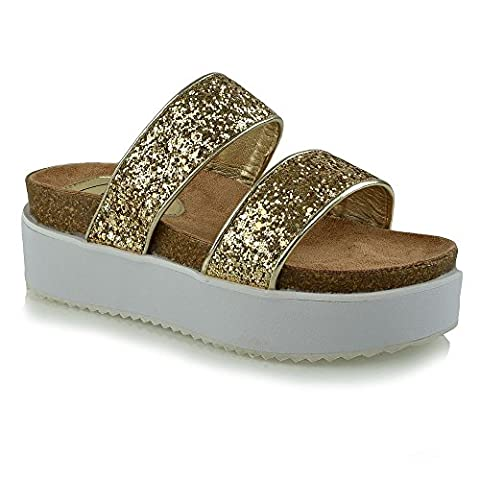 Womens Platform Wedge Heel Ladies Chunky Glitter Strappy Flatform Sandals