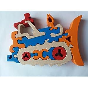 Holzpuzzle Bulldozer handgemachte Maschinenkonstruktionen Spielzeug Nutzfahrzeug Geschenk für Jungen aus Holz Auto…