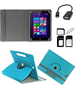 ECellStreet ROTATING 360° PU LEATHER FLIP CASE COVER FOR Simmtronics SIMM-X720 7 INCH TABLET STAND COVER HOLDER - Aqua Blue + Free OTG Cable + Free Sim Adapter Kit