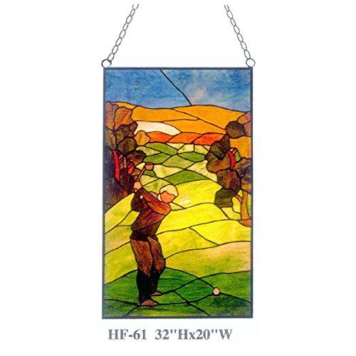 TFN Factory Glass Panel HF-61 Tiffany-Art Buntglas-Golf-Sport-Fenster-hängende Glasplatte Sun Catcher, 32