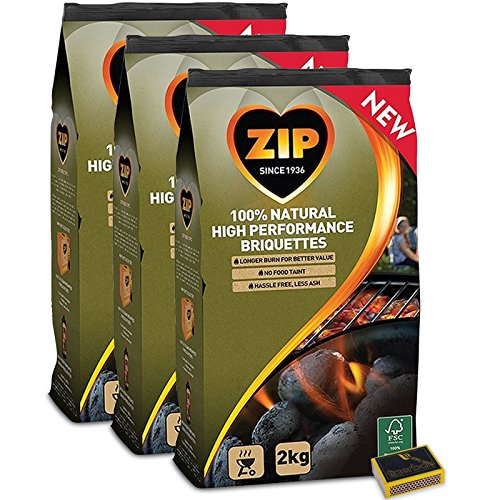 Tigerbox� & ZIP 6KG Charcoal Briquettes. 100% NATURAL. Great for BBQ & Outdoor cooking. PLUS Tigerbox Safety Matches