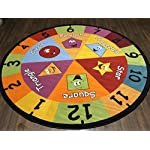 Non Slip Kids Number Shape Mat/Rug 200cm x 200cm Circle Hours Of Fun Ideal for Nursery Or School Environment
