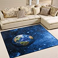 Use7 Planet Earth Universe Star Area Rug Rugs Mat for Living Room Bedroom