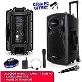 Public Adress mobile MP3 800W + 3 micros PORT15VHF-BT + Câble PC + Effet OVNI RoundMagic LytOr