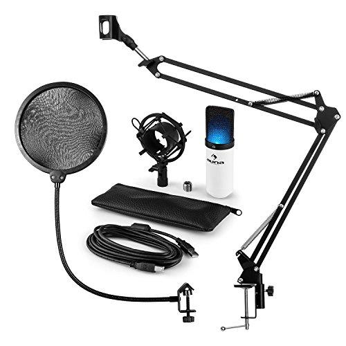 auna Mikrofonset V4 • MIC-900WH-LED • 3-teilig • USB-Kondensatormikrofon • Pop-Schutz • faltbarer Mikrofon-Arm • 1,5 kg Tragkraft • LED-Beleuchtung • Mikrofonspinne • Plug & Play • weiß