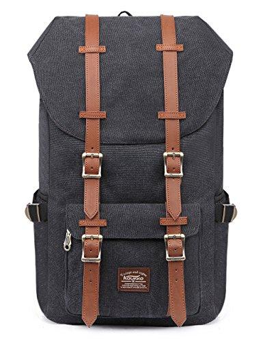"""Rucksack Damen Herren Vintage Reiserucksack KAUKKO 17 Zoll Laptop Rucksack für 15"""" Notebook Lässiger Daypacks Schultaschen of 2 Side Pockets für Wandern Reisen Camping (CSchwarz)"""