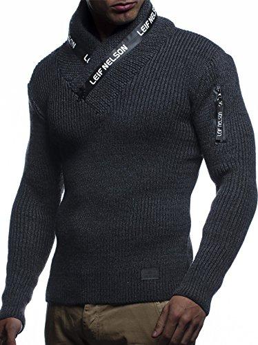 LEIF NELSON Herren Hoodie Cargo Stil Pullover Strickpullover Sweatshirt Sweater Pulli Winterpullover LN5460