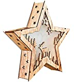 Bambelaa! Stern Holz Beleuchtet 10 LED Hologramm Weihnachtsbeleuchtung Weihnachtsdeko Weihnachten Holzstern ca 31,5x30cm