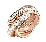 ESPRIT Glamour Damen-Ring ES-TRIDELIA ROSE teilvergoldet Zirkonia transparent Gr. 60 (19.1) - ESRG02258C190