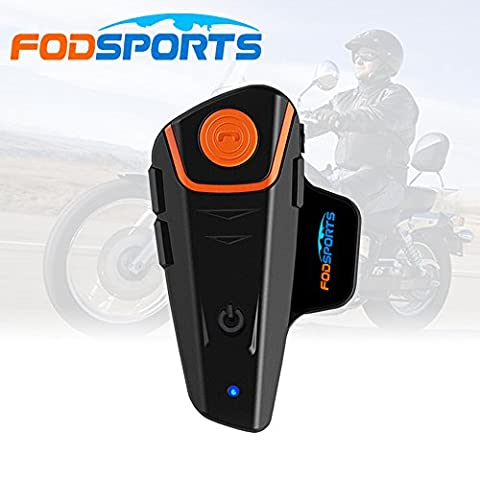 Fodsports BT-S2 1000M Motorcycle Intercom Motorcycle Helmet Intercom Interphone Bluetootth Headset Great for Riding/ Skiing (Up to 2 or 3 Riders,2.5mm Audio, Walkie Talkie, MP3 Player, GPS Hands Free & FM Radio )