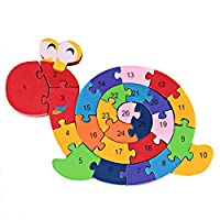 PROW® Colourful Woodmade Snail Shape Alphabet Numbers Puzzle Jigsaw Safety Building Block Raise Memory Kid Toys