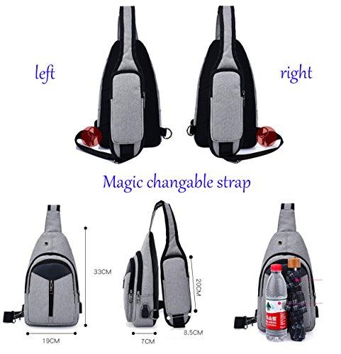 Super Modern Unisex Daily Bag Freizeit Sports Nylon Tasche mit Kopfhörer Loch Schule Tasche mit USB Ladegerät Port violett