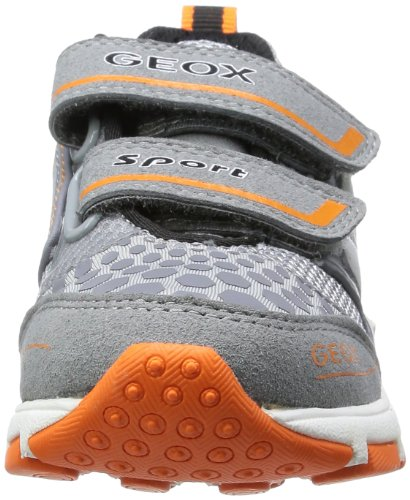 Geox J Torque A, Baskets mode garçon Gris (Grey/Fluo Orange)