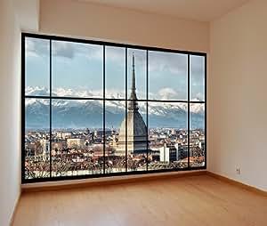 awm c24 apartment fenster blick auf turin italien fototapete wandbild peel stick. Black Bedroom Furniture Sets. Home Design Ideas